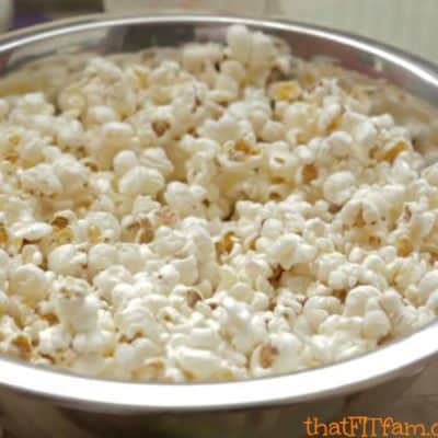 air popped popcorn- clean cheats for movie night! so great for indulging without ruining your progress!