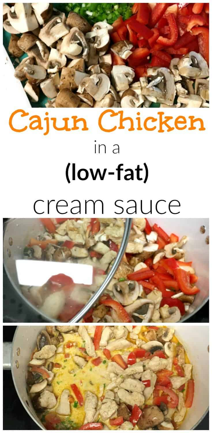cajun chicken with a low fat cream sauce with no weird ingredients. super easy and delicious and low fat! Heatlhy alternative to heavy cream!
