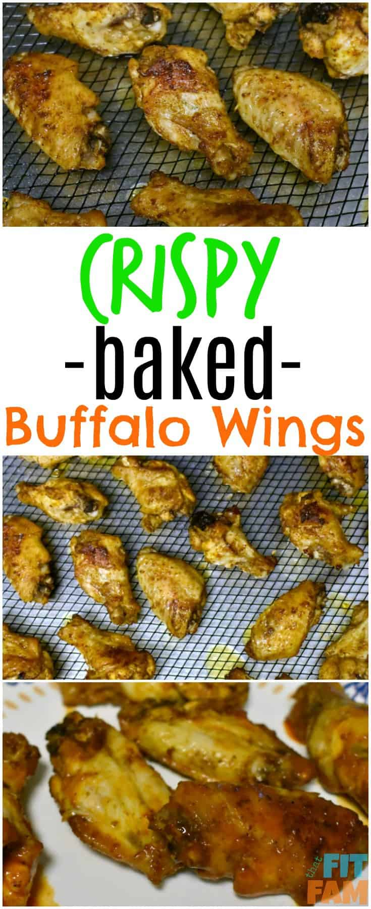super easy crispy baked buffalo wings! Crispy and just as good as fried, but so much healthier! great game day/ party food!