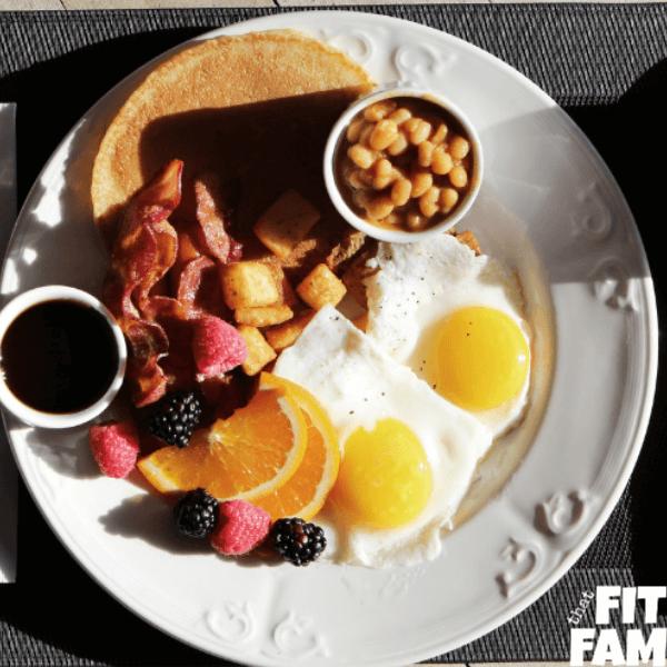 plate of breakfast food, eggs, toast, bacon, potatoes