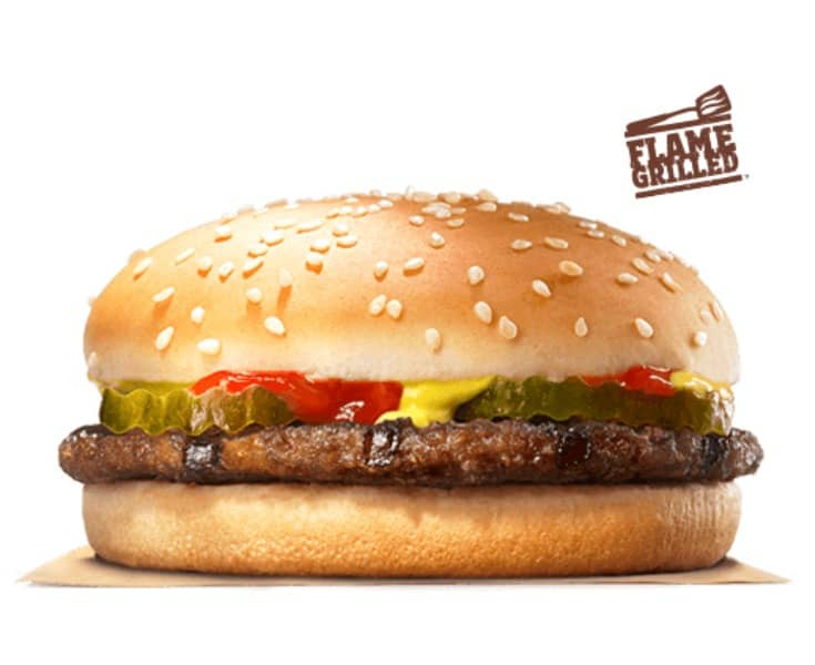 this low cal burger from burger king is a great healthier option for fast food