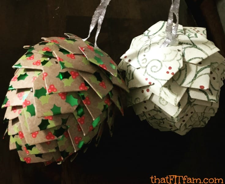homemade paper pine cone christmas ornaments