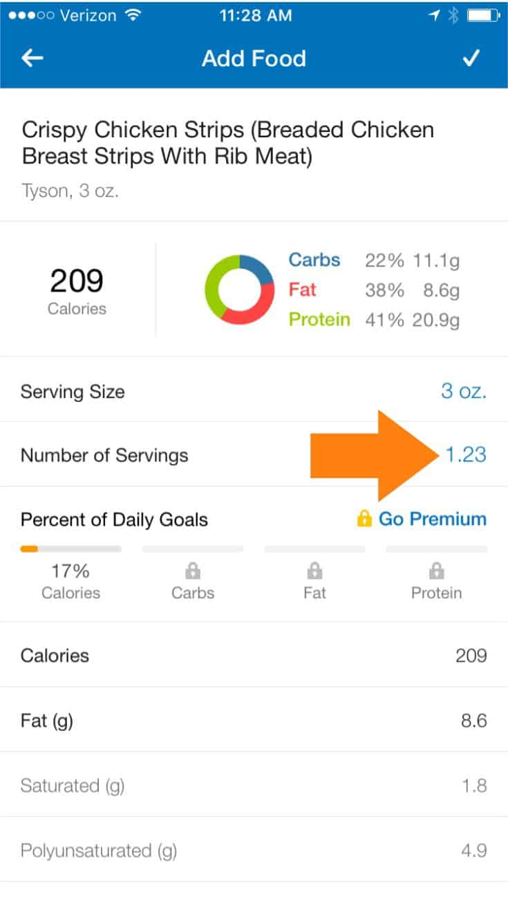 MyFitnessPal entry for chicken strips