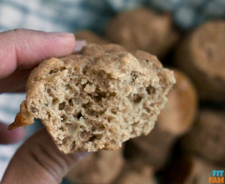 up close pic of a kodiak cakes banana muffin. super healthy & moist with no butter or oil!