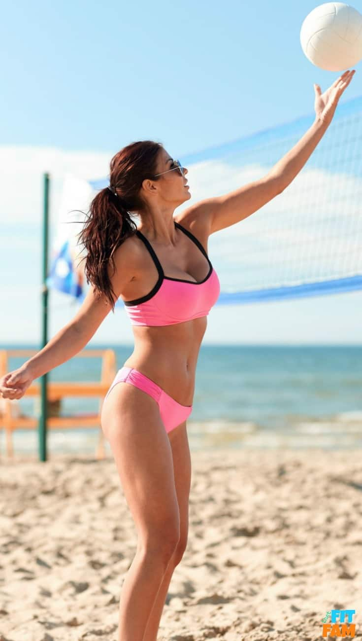 fit girl playing volleyball