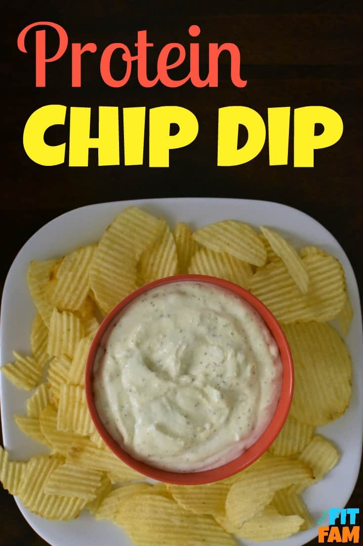easy healthy protein chip dip, perfect healthy chip dip for party food. ONLY 2 ingredients! SO easy!