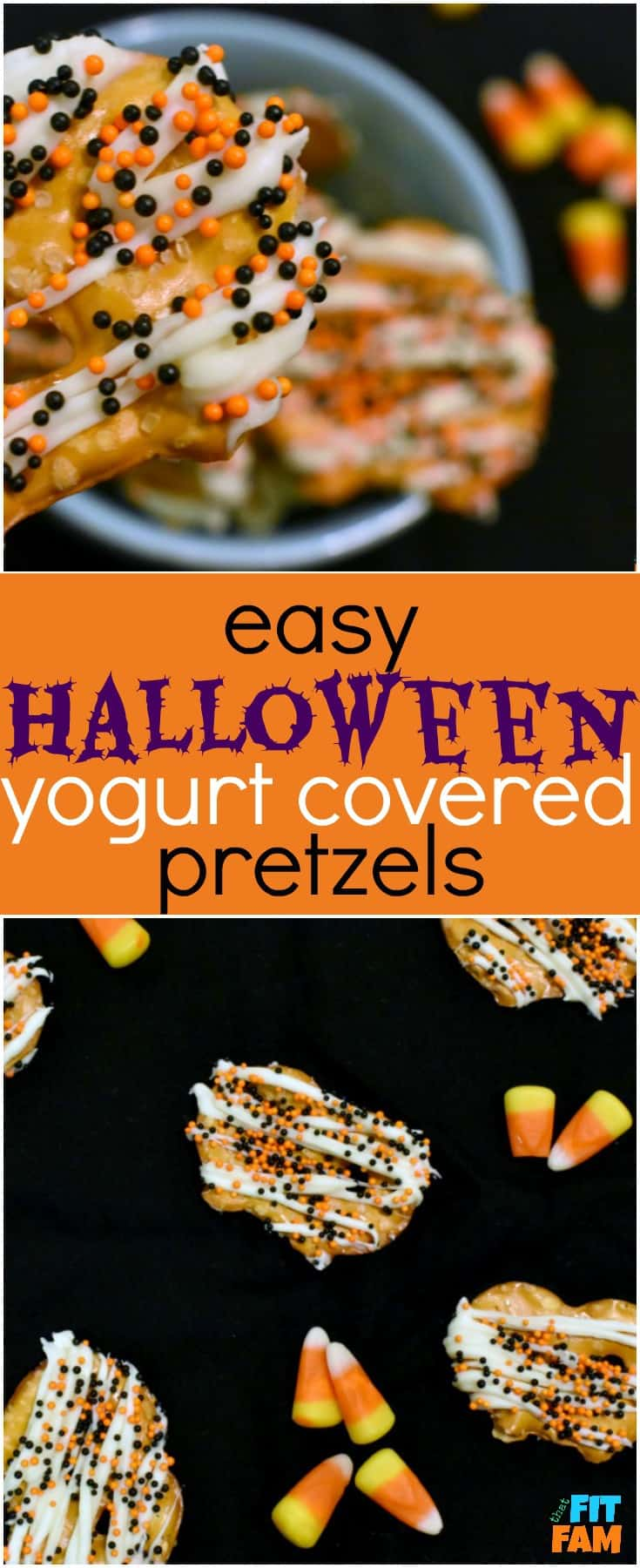 how to make yogurt covered pretzels that are perfect for Halloween party food! They are so easy, yummy, and a great healthy snack! My favorite guilt free Halloween treat!