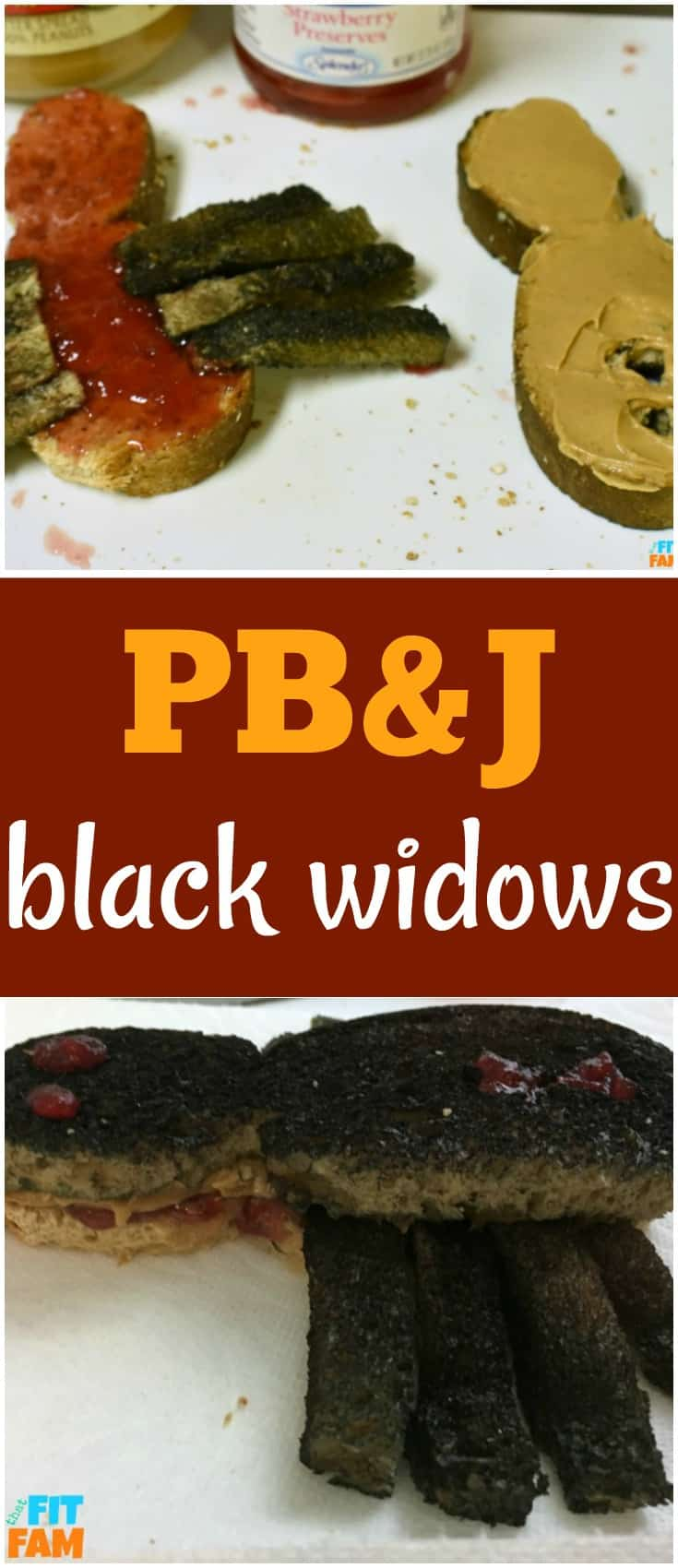 fun Halloween lunch idea for kids- PB& J Black Widows! These are such an easy Halloween treat!