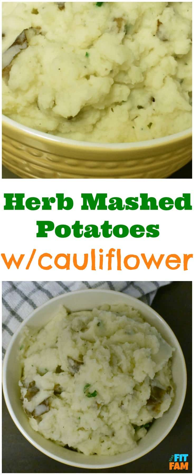 Healthy herb mashed potatoes with mashed cauliflower mixed in. Your kids won't even know they're eating extra veggies! Such a yummy dinner side!