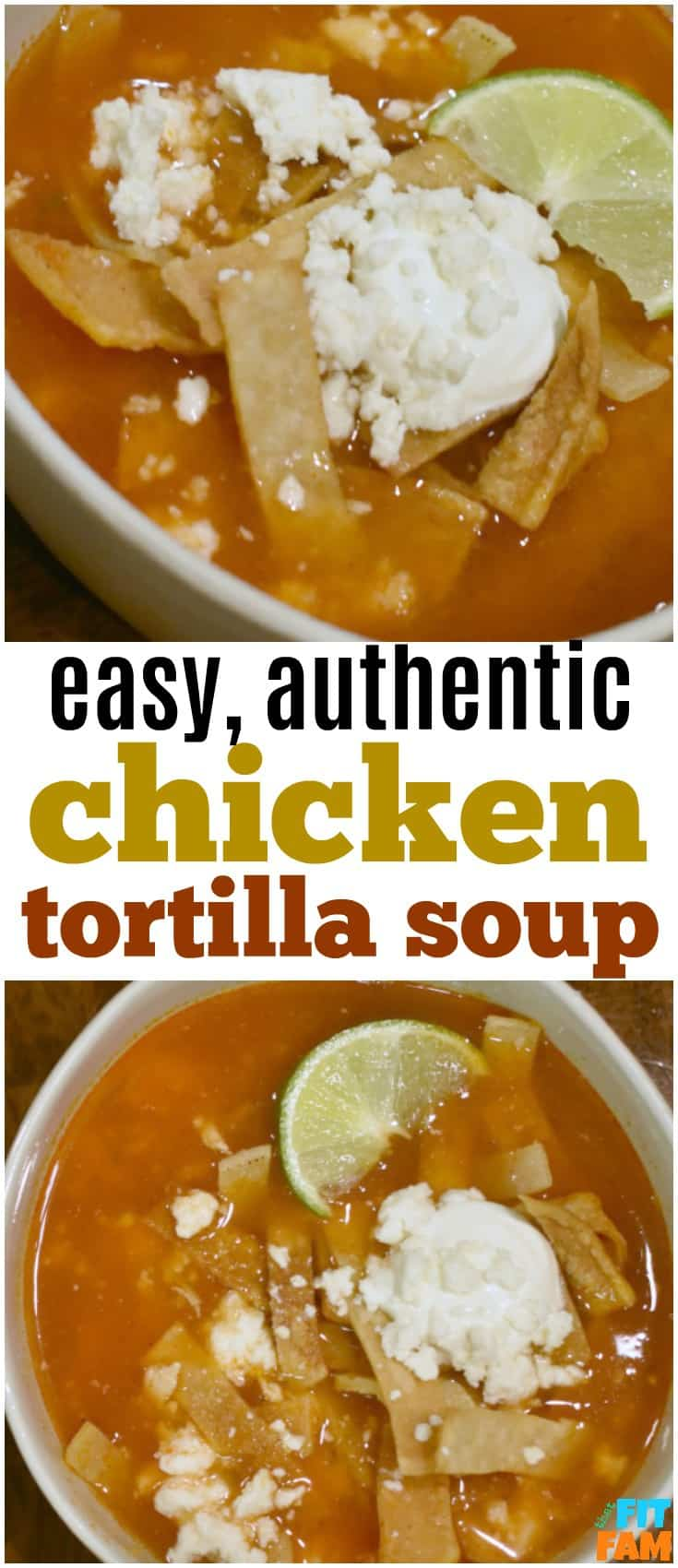 this is such a quick authentic tortilla soup recipe. it is so easy to make and perfect for winter. you can also make this with leftover turkey breast from Thanksgiving. Favorite comfort food!