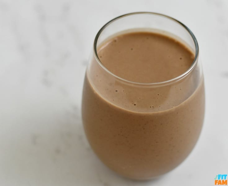 glass of our fave chocolate almond butter protein shake