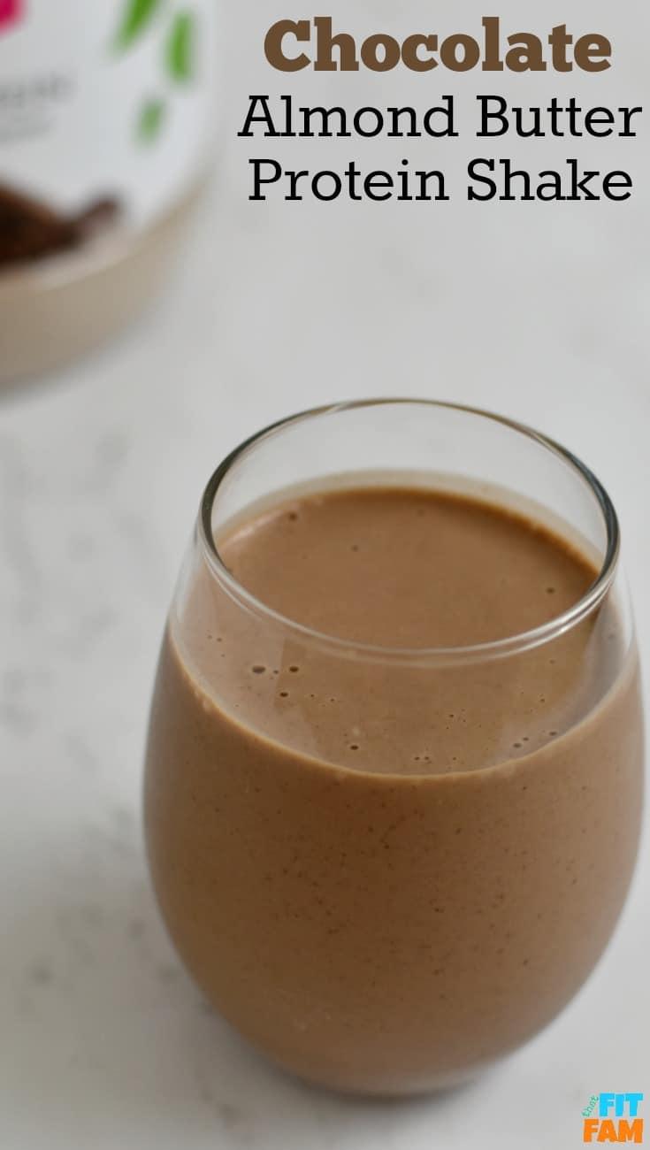 chocolate almond butter protein shake, macro friendly, iifym, great for post workout, vegan alkaline protein shake