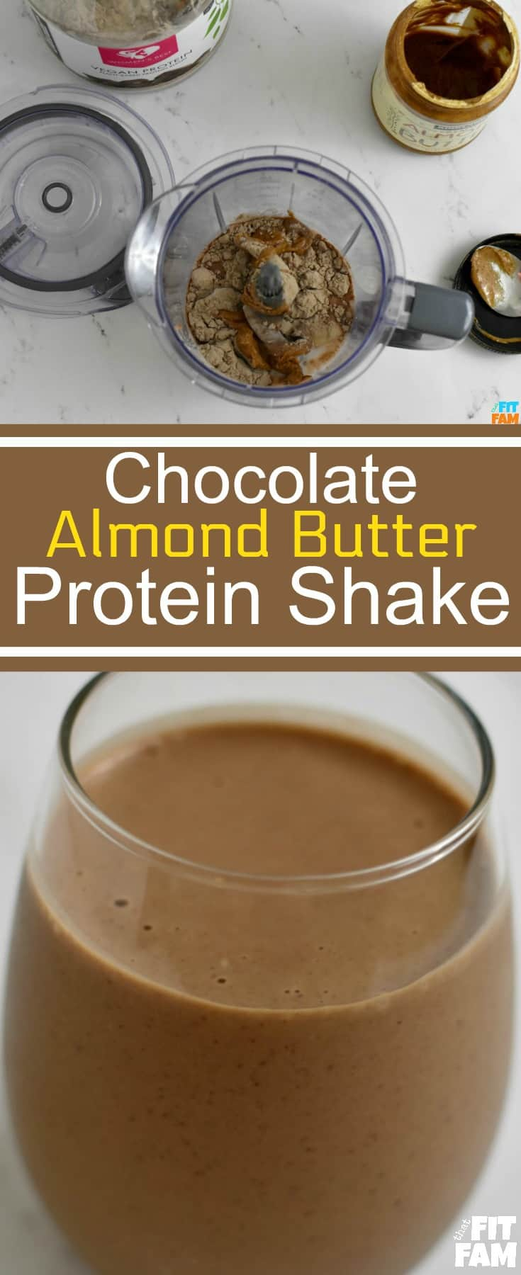 chocolate almond butter protein shake, macro friendly, iifym, great for post workout, vegan alkaline protein shake