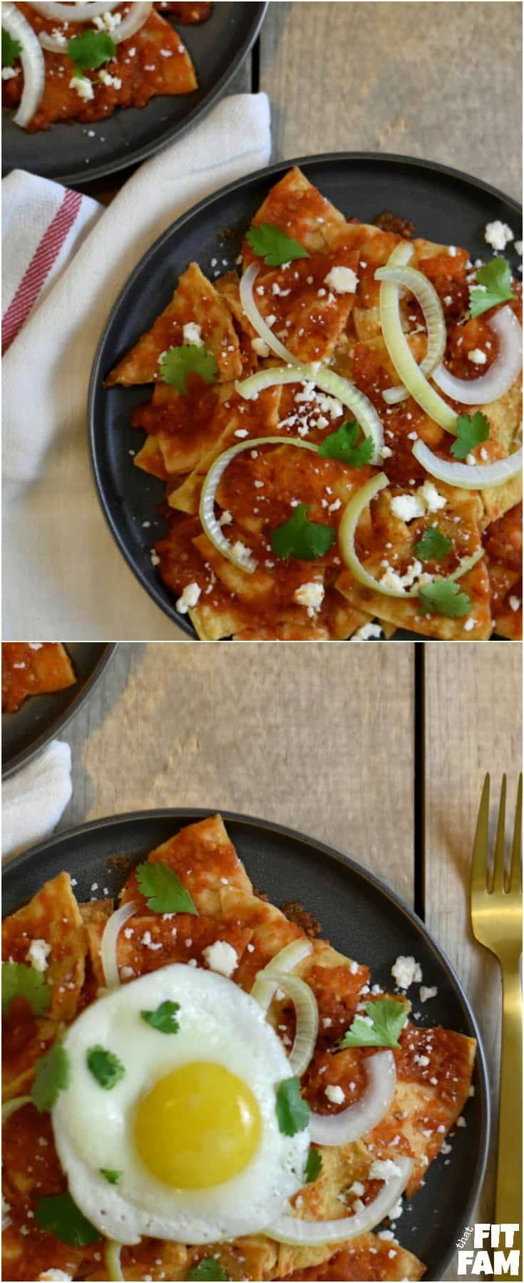 These chilaquiles are good for breakfast, lunch, or dinner. It just depends on your toppings. If you want it for breakfast, add a fried egg. If you want it for lunch or dinner, add some shredded rotisserie chicken. Then garnish as desired!