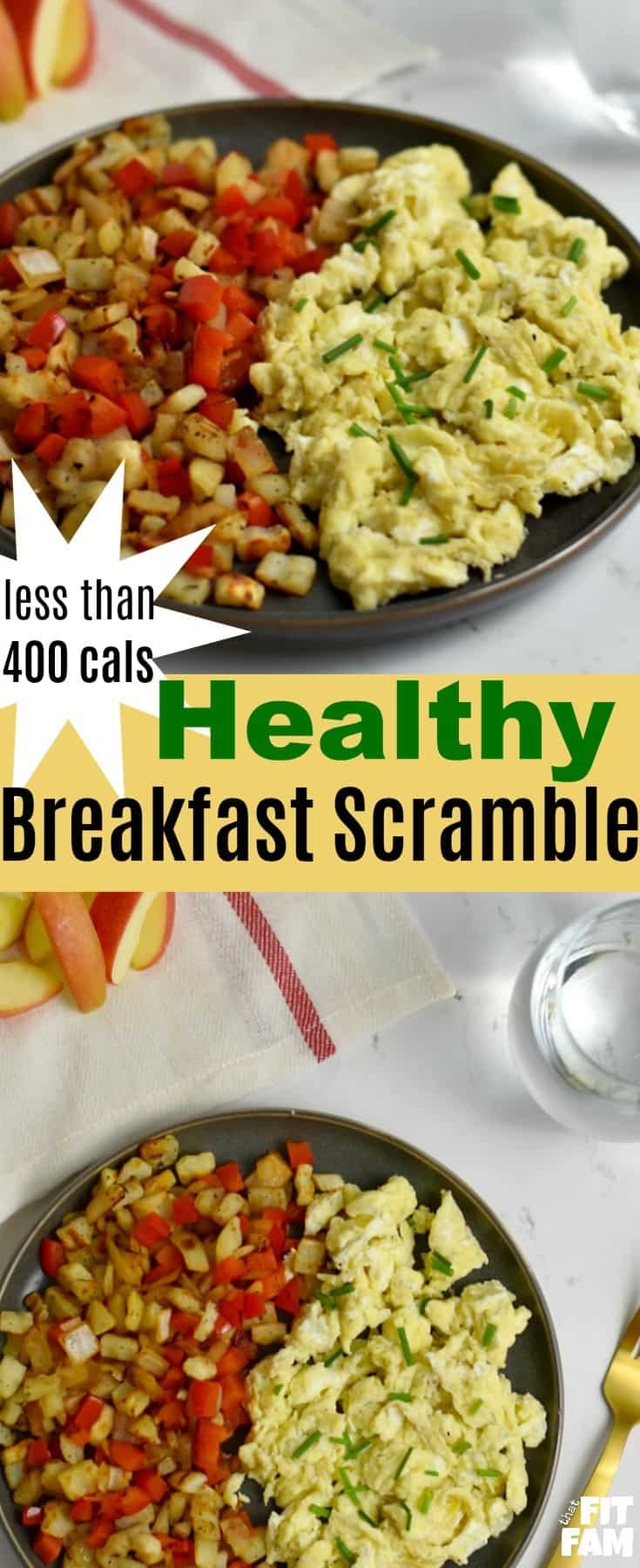 healthy breakfast scramble, under 400 calories, it's super easy and delicious egg breakfast. recipe measured to the gram for macro/ iifym diet