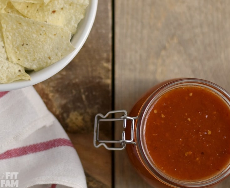 this homemade chipotle salsa is smokey with just the right amount of heat. It is perfect with chips or on top of any mexican dish! great party food! #cincodemayo #mexicanfood