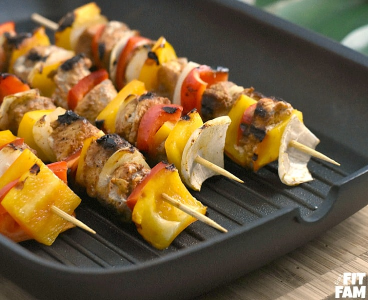 chicken kabobs are so easy to make on the grill! perfect for a healthy barbecue, cinco de mayo, or any summer party! Great recipe for sticking to your diet, low carb, low fat, mexican food #lowcarb #dietfood #macros #iifym