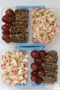 healthy chicken salad made with greek yogurt! perfect for weekly meal prep, low carb, iifym, and diet friendly!