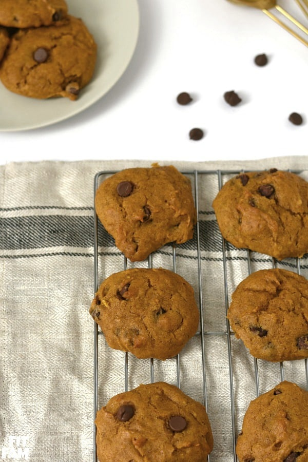 pumpkin chocolate chip cookies are the perfect pumpkin recipe to ring in the Fall season, we love these for halloween, thanksgiving and christmas, such a great dessert to bring to a party!