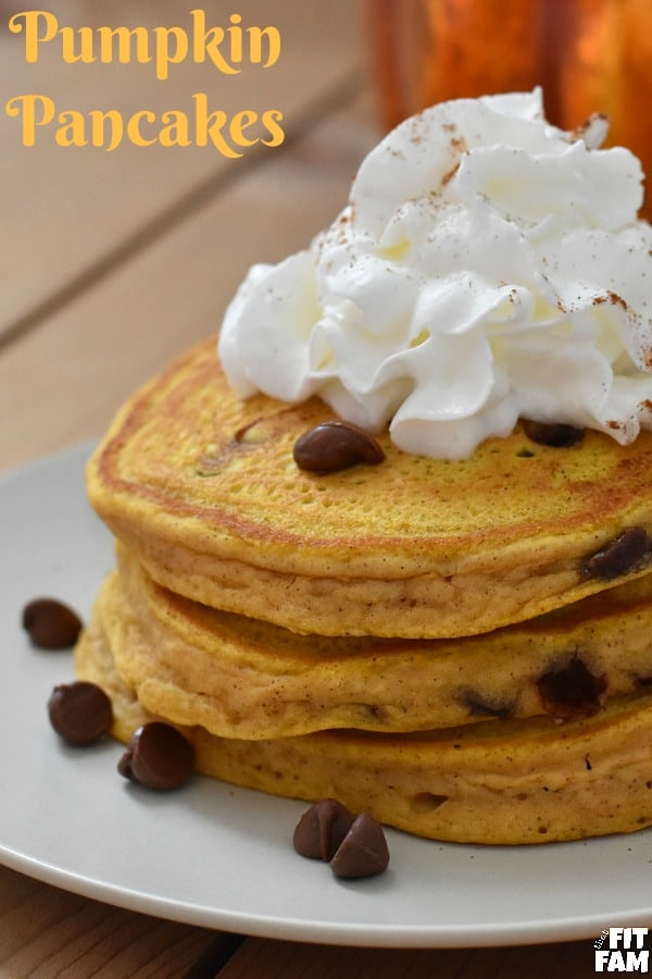 super easy homemade chocolate chip pumpkin pancakes, perfect fall recipe for breakfast, halloween, thanksgiving, or just because you're craving pumpkin chocolate chip pancakes