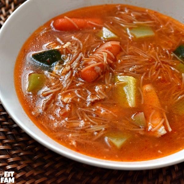 a bowl of Fideo Soup (Sopa de Fideo)