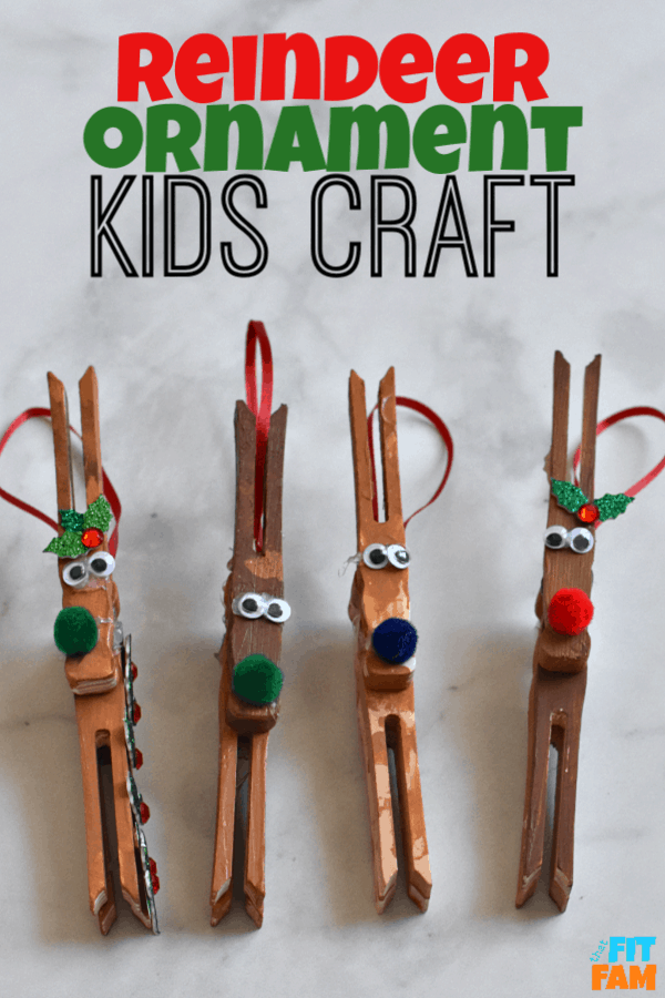 this reindeer ornament kids craft is so easy and fun for kids to make during the holidays! love clothespin crafts! #DIYChristmas