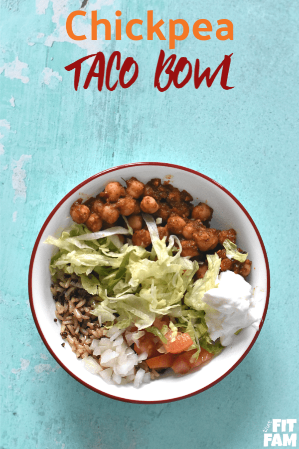 quick & easy Chickpea taco bowl, this is vegetarian and delicious! we're not vegetarian, but we love it! super diet friendly, perfect for IIFYM / counting macros. great healthy lunch option if you're craving Mexican food