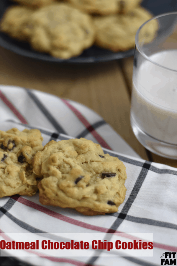 favorite oatmeal chocolate chip cookies to have for dessert! we make these all the time! plus great tips for not overindulging on treats when you are on a diet/ counting macros #macros #iifym #flexibledieting