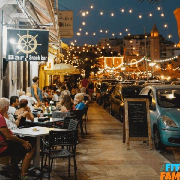 outdoor restaurant with lights