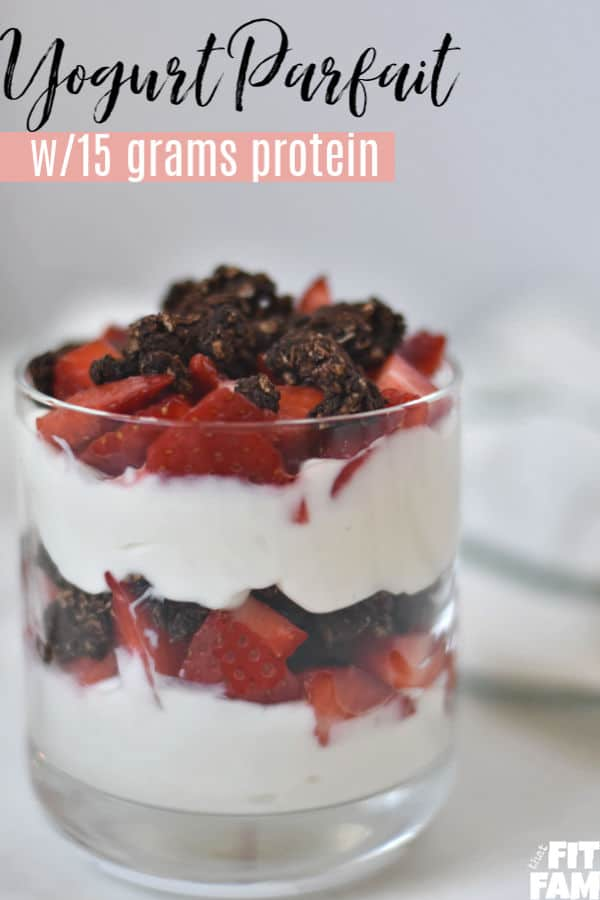 This is a high protein yogurt parfait that you can meal prep at the start of each week and enjoy for breakfast on those hot Summer mornings.