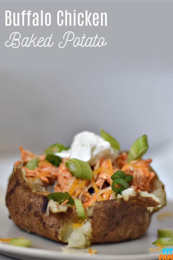 This crIspy skinned buffalo chicken baked potato is a macro friendly meal & is a weekly staple at our house! High protein & topped with Greek yogurt and green onions, this is too good to pass up. #iifym #dietfriendly