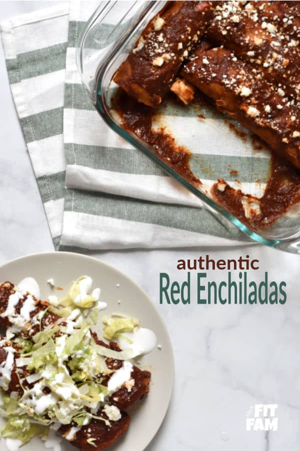 authentic red enchiladas made with a rich sauce and filled with Mexican queso fresco