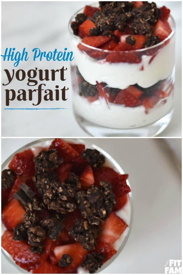 high protein yogurt parfait, perfect for meal prep. love that the chocolate & strawberry combo! macro friendly #iifym