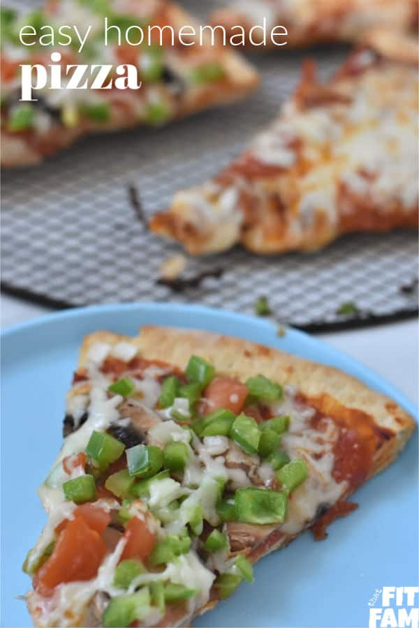 love this easy homemade pizza recipe! it's become a family tradition. we love adding tons of veggies to ours while the kids only want pepperoni on their half, great dinner idea!