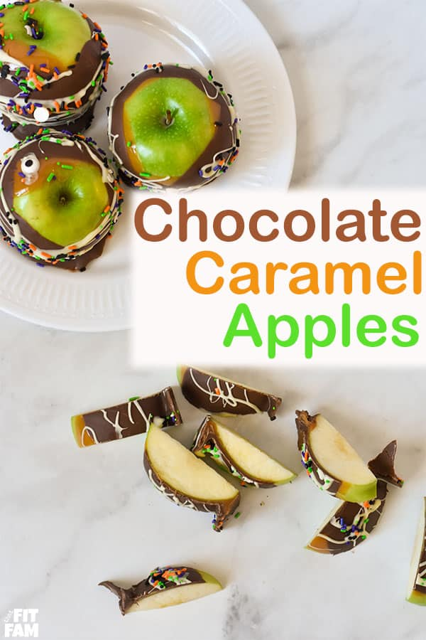chocolate caramel apples with sprinkles