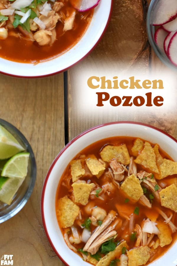 love this red pozole recipe that uses chicken instead of pork! This is perfect to warm you up on those cold winter nights! We love making it around Christmas time #mexicanfood