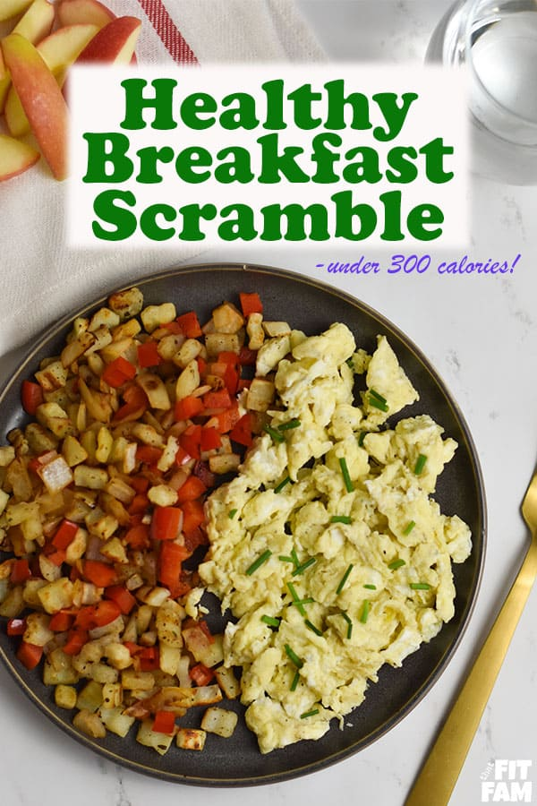 Healthy breakfast scramble- under 300 calories and so easy to make! love this quick breakfast idea! #dietfood #breakfast