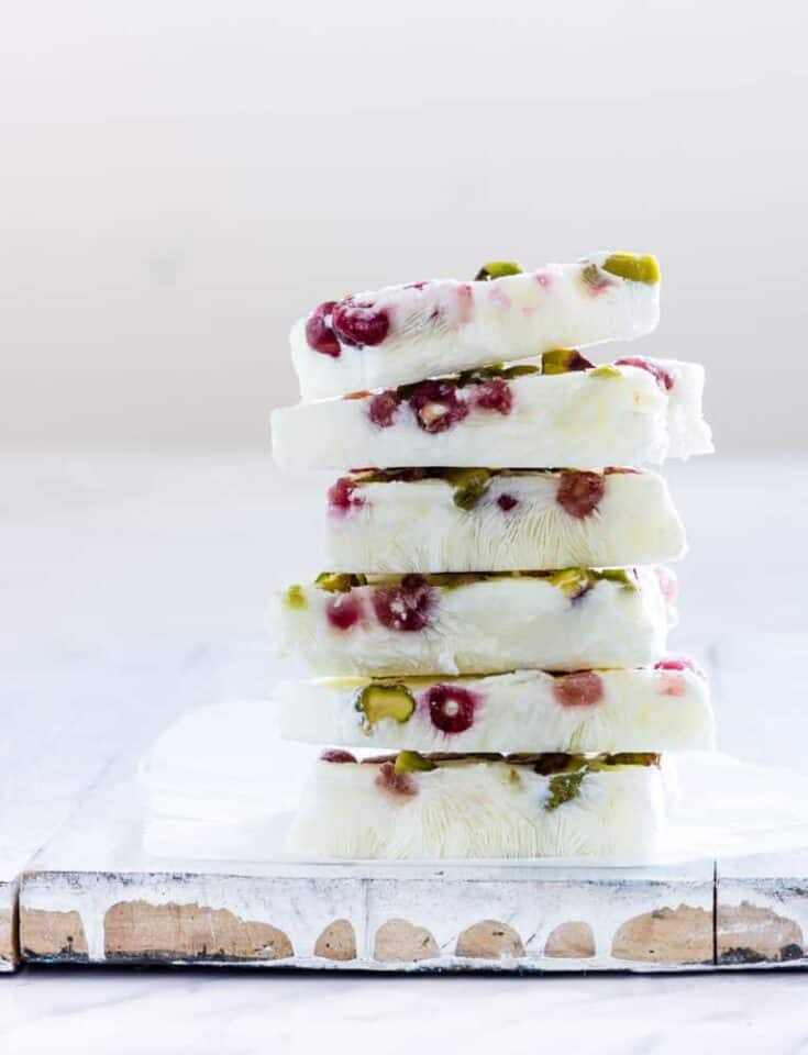 Pistachio and Pomegranate Frozen Yogurt Bark