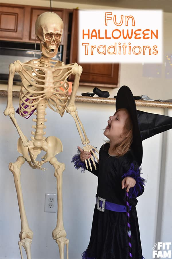 Halloween witch with skeleton