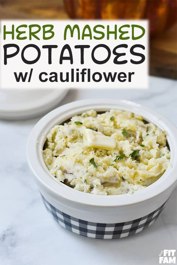 herb mashed potatoes with cauliflower mixed in. this is the ultimate healthy side for dinner. so much seasoning and flavor in these potatoes! great for pot roast or even Thanksgiving dinner