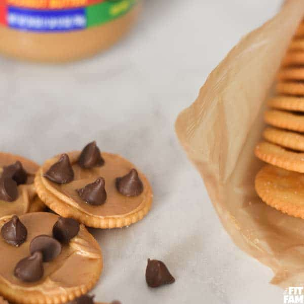 RITZ crackers with chocolate chips and peanut butter
