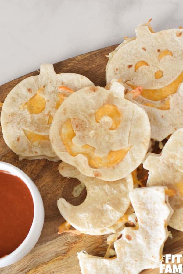 Halloween shaped baked quesadillas