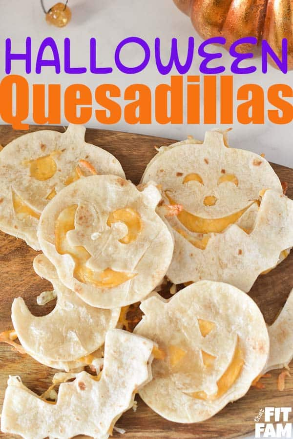 pumpkin, ghost, and bat quesadillas