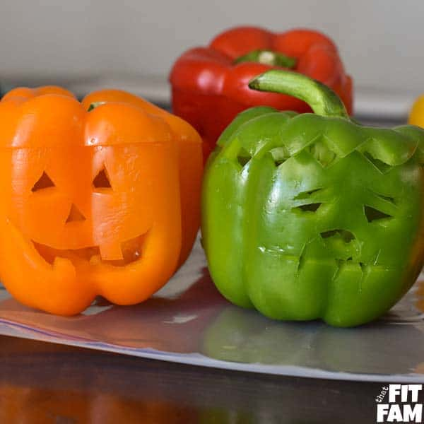 Halloween Chicken Stuffed Bell Peppers