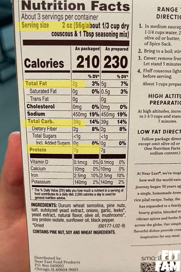 nutrition label of a package of rice pilaf with fat, carbs, and protein highlighted