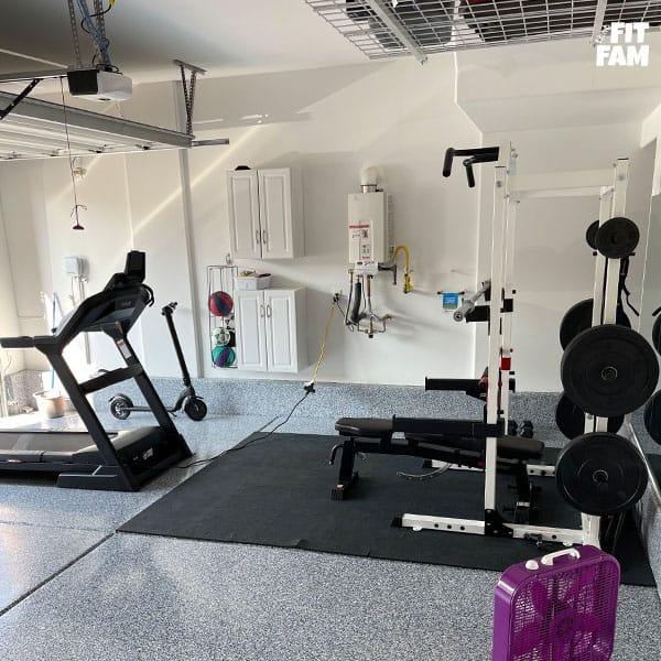 garage gym squat rack and treadmill