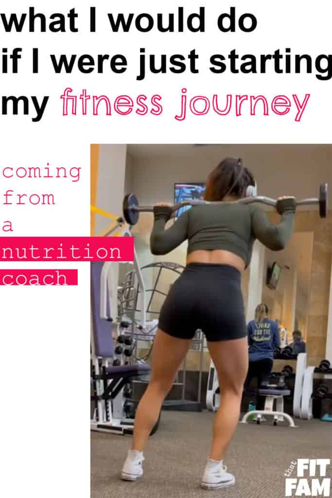 me with a preloaded barbell doing lunges with text above about starting my fitness journey